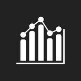Business graph icon. Chart flat vector illustration on black background Stock Photography