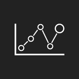 Business graph icon. Chart flat vector illustration on black background Royalty Free Stock Photography