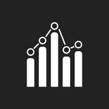 Business graph icon. Chart flat vector illustration on black background Stock Image