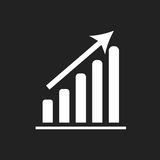 Business graph icon. Chart flat vector illustration on black background Stock Images