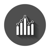 Business graph icon. Chart flat vector illustration with long shadow Royalty Free Stock Photos