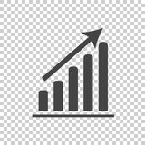 Business graph icon. Chart flat vector illustration on white bac Royalty Free Stock Photos