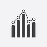 Business graph icon. Chart flat vector illustration on white background Stock Photos