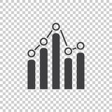 Business graph icon. Chart flat vector illustration on white background Royalty Free Stock Photos