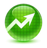 Business graph icon glassy green round button Royalty Free Stock Photo