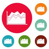 Business graph icons circle set vector. Isolated on white background Royalty Free Stock Photos