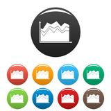 Business graph icons set collection circle. Business graph icons set in simple style many color circle isolated on white background Stock Photography