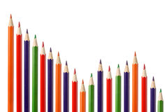 Business graph illustrating decrease. Made up of colored pencils Stock Photos