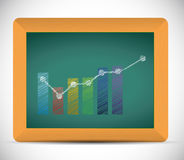 Business graph illustration design. Over a chalkboard Royalty Free Stock Photo