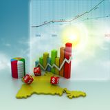 Business graph with India map Stock Photo