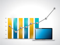 Business graph and laptop illustration design Stock Photos
