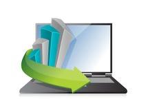 Business graph laptop illustration design Stock Image