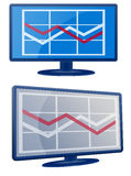 Business Graph LCD Screen Monitor Stock Photo