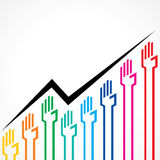 Business graph made by colorful hand icons Stock Photos