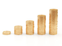 Business Graph made from Golden Coins. On white background Stock Photography