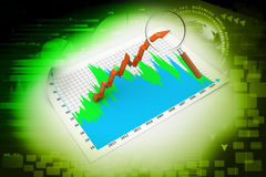 Business graph with magnifying glass Stock Photography