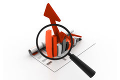 Business graph and magnifying glass Royalty Free Stock Photography