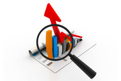 Business graph and magnifying glass Stock Photo