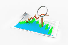 Business graph with magnifying glass. In white color background Stock Image
