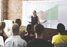 Business Graph Measurements Data Presentation Concept. Business Woman Presenting Graph Measurements Data Presentation Royalty Free Stock Images