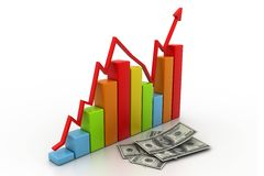 Business graph with money Stock Images
