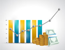 Business graph and money illustration design Stock Photo
