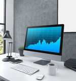 Business graph monitor Royalty Free Stock Photos
