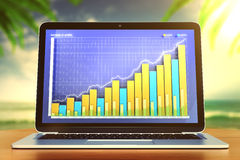 Business graph on the monitor of laptop Royalty Free Stock Image