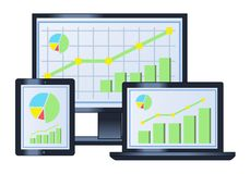Business graph on monitor, laptop and tablet. Illustration of the computer business financial graph on monitor, laptop and tablet Royalty Free Stock Photos