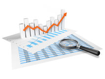 Business Graph with orange arrow Royalty Free Stock Image