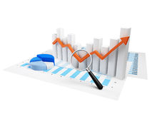Business Graph with orange arrow Stock Photo