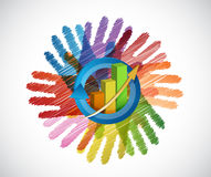 Business graph over a color hands Royalty Free Stock Image