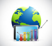 Business graph over a tablet and globe. Stock Photo
