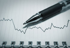 Business graph and pen  3d illustration Royalty Free Stock Photo