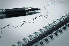 Business graph and pen Stock Photo