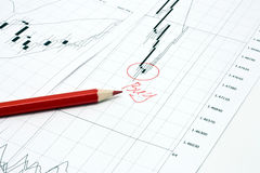 Business graph and pencil Royalty Free Stock Photo