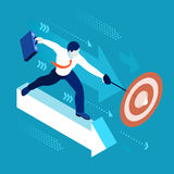 Business Graph 04 People Isometric. Data scientist man business concept 3D isometric flat illustration blue background or backdrop EPS 10 JPG JPEG. Creative Stock Image