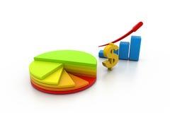 Business graph with pie diagram. 3d illustration of Business graph with pie diagram Stock Images