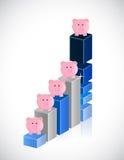 Business graph and piggybanks illustration Stock Image