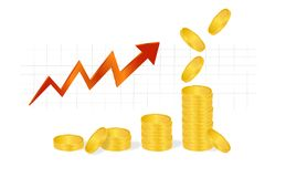 Business Graph with piles of golden coins and falling coins showing profits isolated on white background. Business Graph with arrow and coins showing profits Stock Image