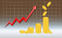 Business Graph with piles of golden coins and falling coins showing profits on dark brown background. Business Graph with arrow and coins showing profits and Royalty Free Stock Images