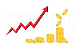 Business Graph with piles of golden coins and falling coins showing profits isolated on white background. Business Graph with arrow and coins showing profits Royalty Free Stock Images