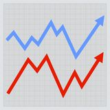 Business graph. Red and Blue Arrowson Light Royalty Free Stock Photos