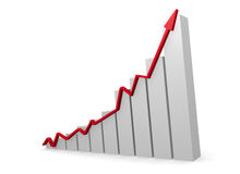 Business graph with a red upswing arrow. 3d rendering Stock Images