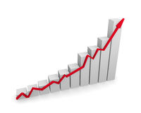 Business graph with red upswing arrow. On a white background, 3d rendering Stock Photos