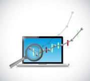 Business graph review on computer. Stock Image