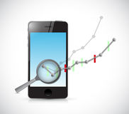 Business graph review on phone. Royalty Free Stock Image
