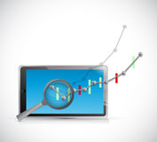 Business graph review on tablet. illustration Royalty Free Stock Image