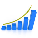 Business graph with rising arrow. 3d business graph with space for your text Stock Photo