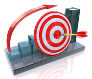 Business graph with rising arrow and red target Stock Photos